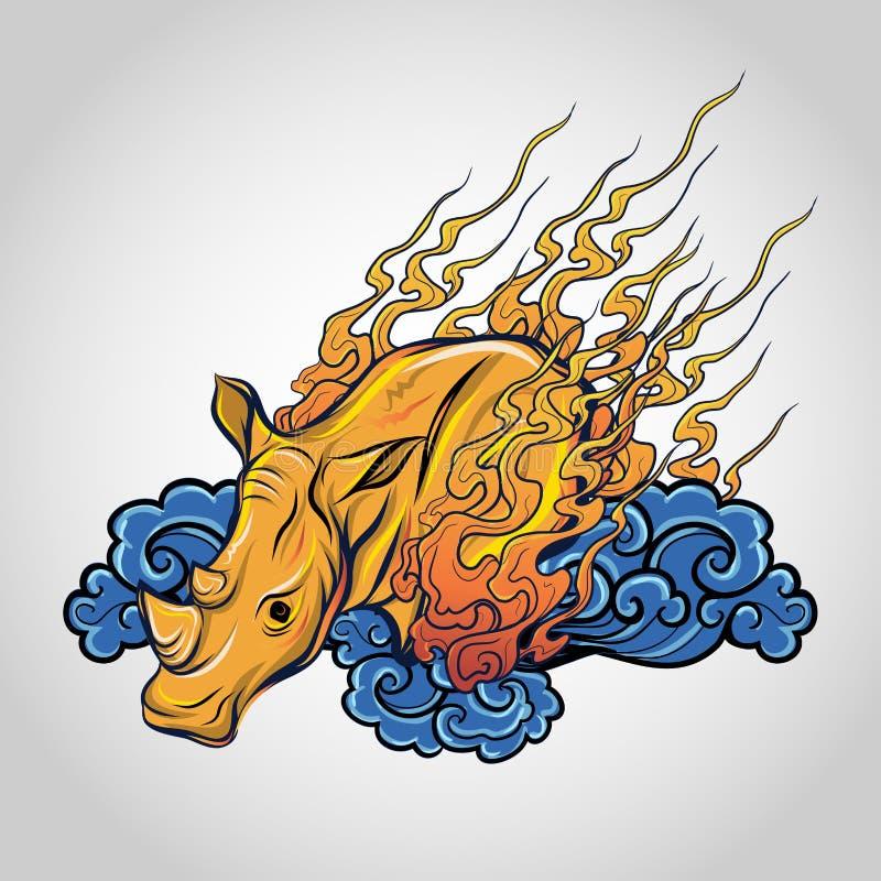 犀牛纹身花刺顶头传染媒介, 库存图片