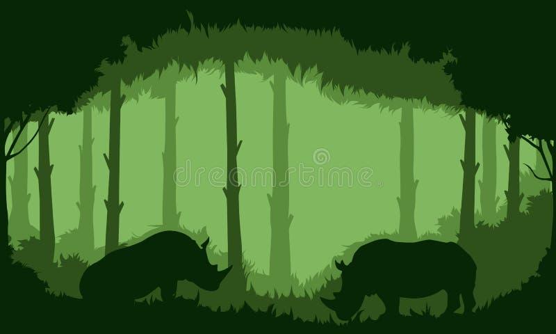 犀牛背景在森林里 库存图片