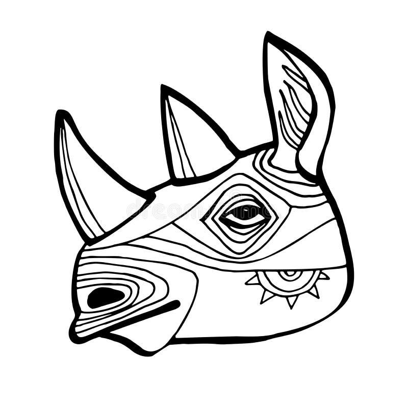 犀牛脸矢量图 纹身设计 部族图腾 图形样式、黑白插图的手绘图稿 库存例证
