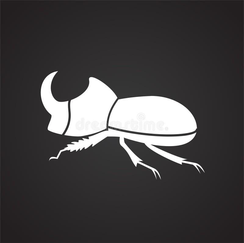 犀牛臭虫在黑背景的昆虫象图表和网络设计的,现代简单的传染媒介标志 背景蓝色颜色概念互联网 时髦标志 向量例证