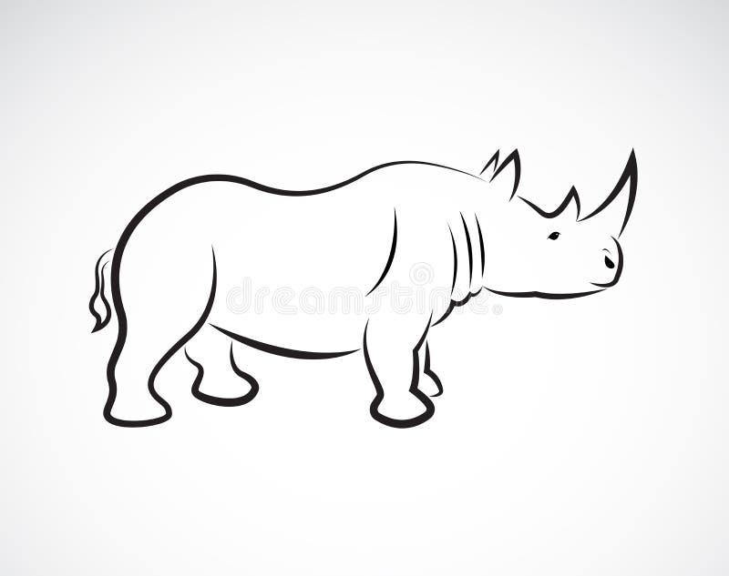 犀牛设计,野生动物传染媒介在白色背景的, 皇族释放例证