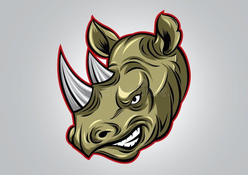 犀牛顶头简单的商标传染媒介例证 库存例证