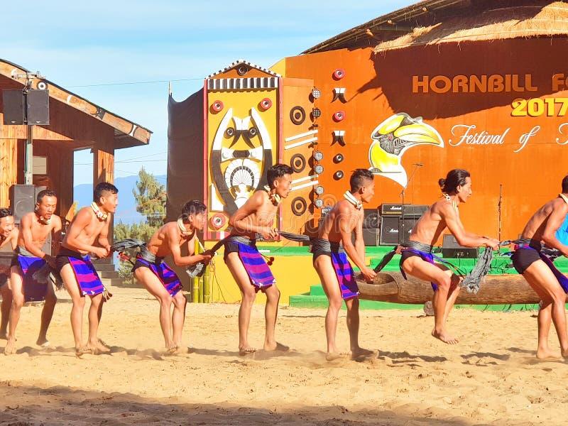 犀鸟节日的部族艺术家,科希马 免版税库存图片