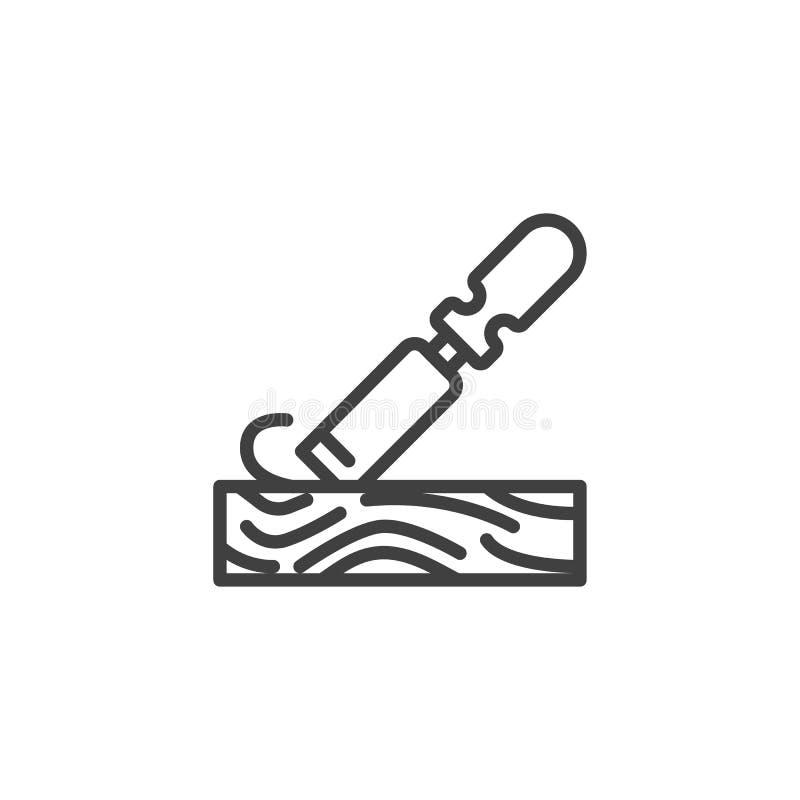 犁木板条线象的凿子 向量例证
