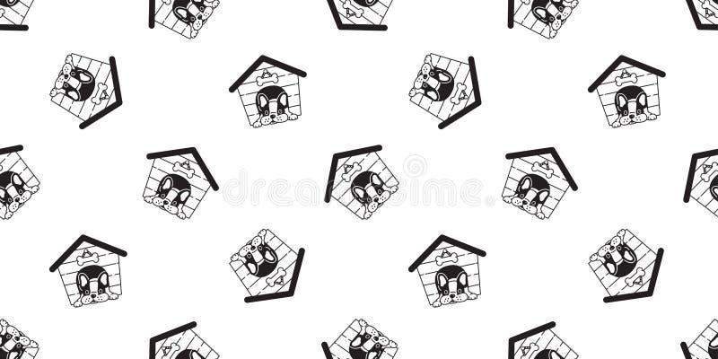 犬小屋无缝的样式传染媒介法国牛头犬骨头围巾被隔绝的重复墙纸瓦片背景例证 皇族释放例证