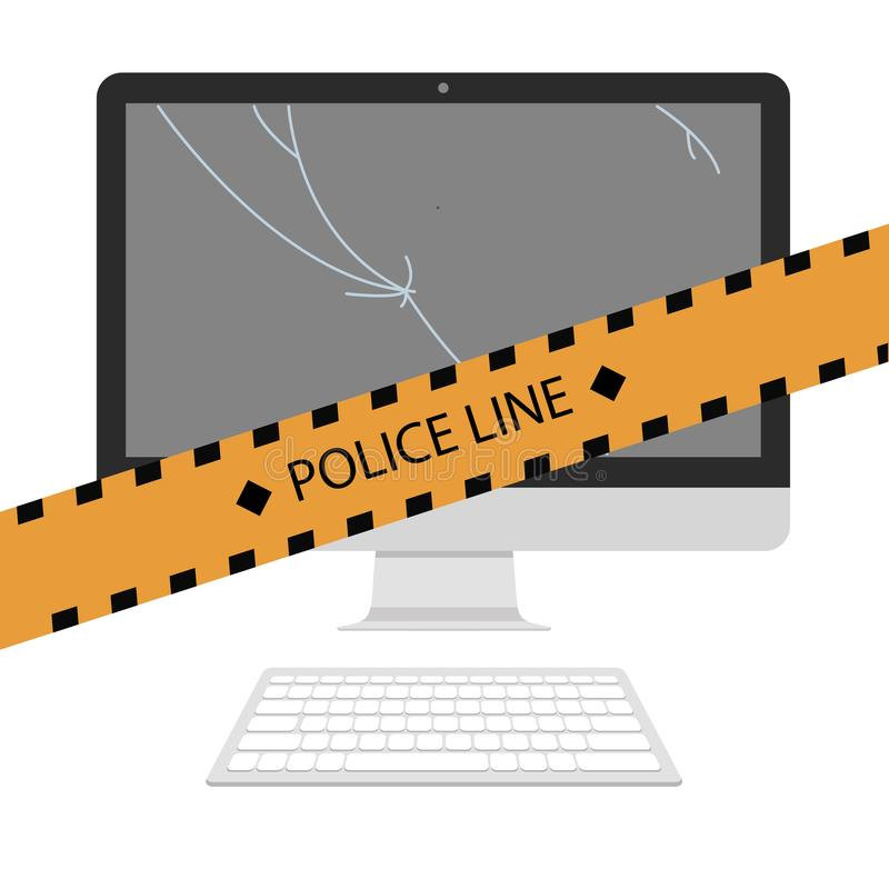 犯罪场面 不要跨过警察线 库存例证