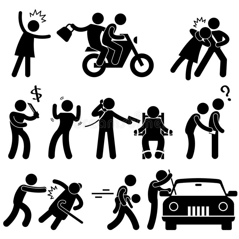 犯罪强盗夜贼绑架者 向量例证