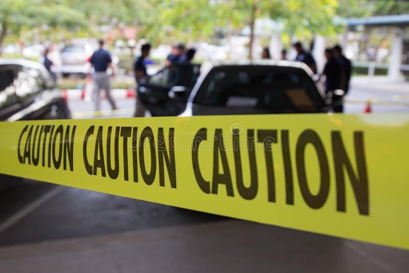 犯罪现场由小心磁带保护 图库摄影