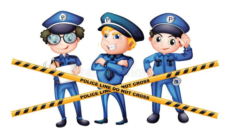 犯罪现场的三位警察 向量例证