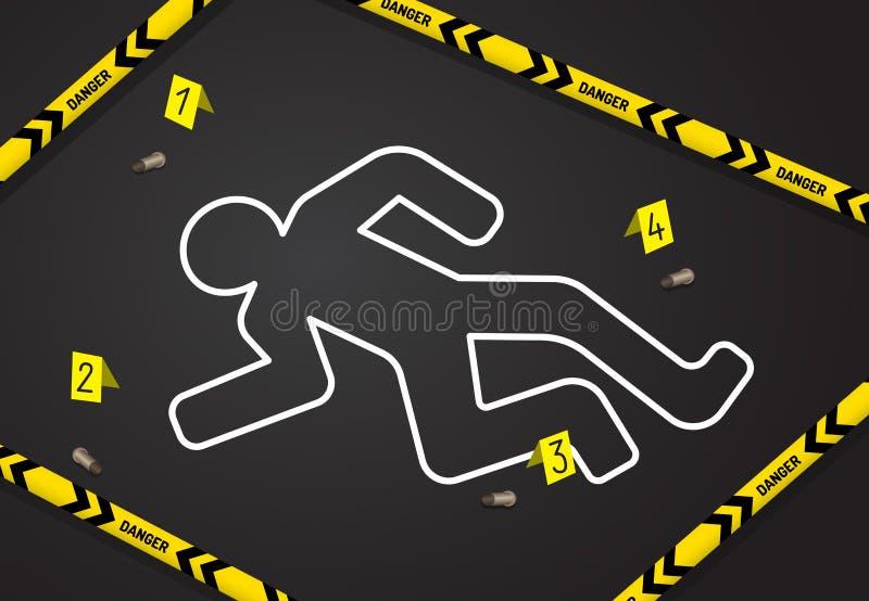 犯罪现场,不横渡警察磁带 从谋杀的白垩概述 皇族释放例证