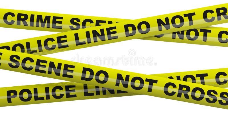 犯罪现场,警察线 反对白色背景的警告的黄色磁带被隔绝的保险开关 3d?? 皇族释放例证