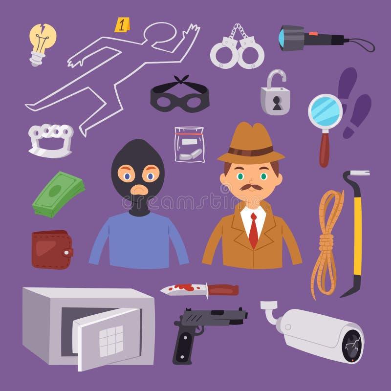 犯罪窃贼动画片侦探字符设计 皇族释放例证