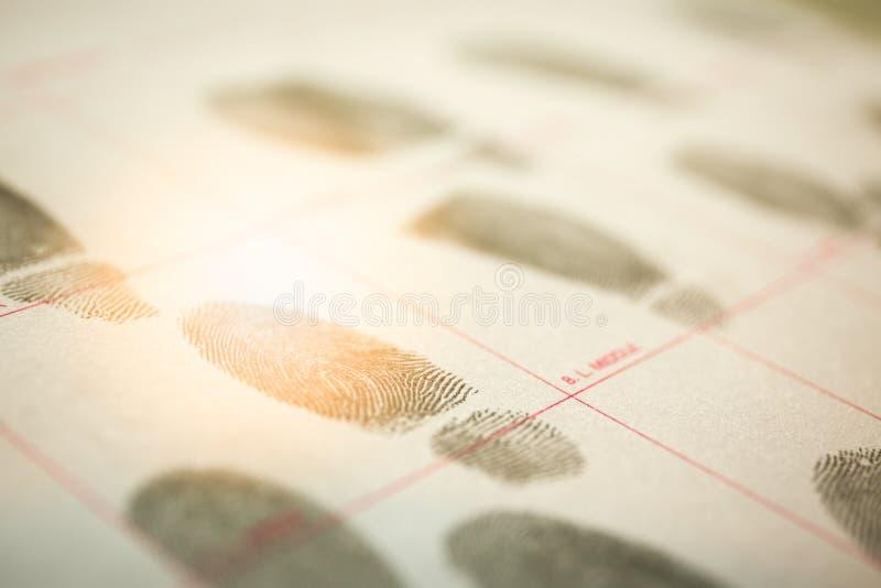 犯罪纪录的生理生物测定学概念由fingerpr 免版税库存照片