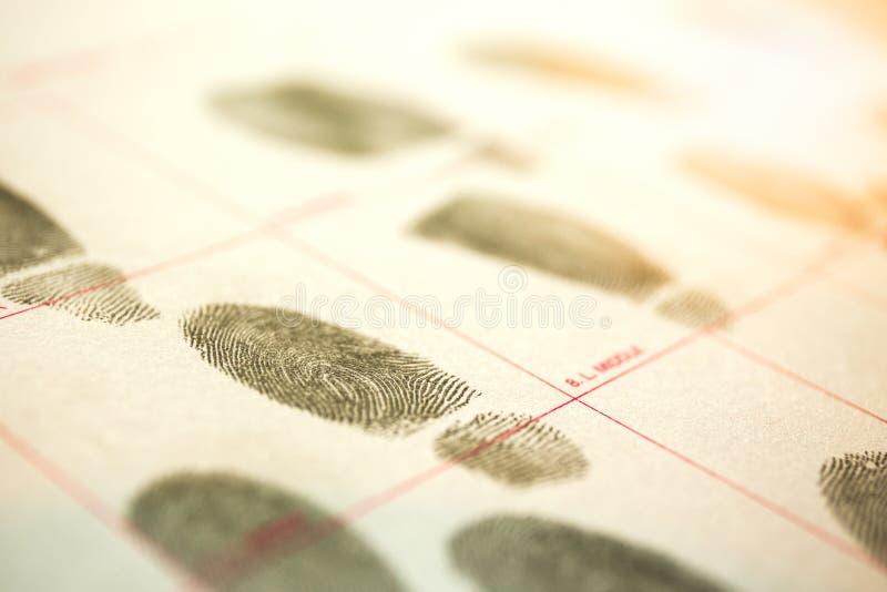 犯罪纪录的生理生物测定学概念由fingerpr 库存图片