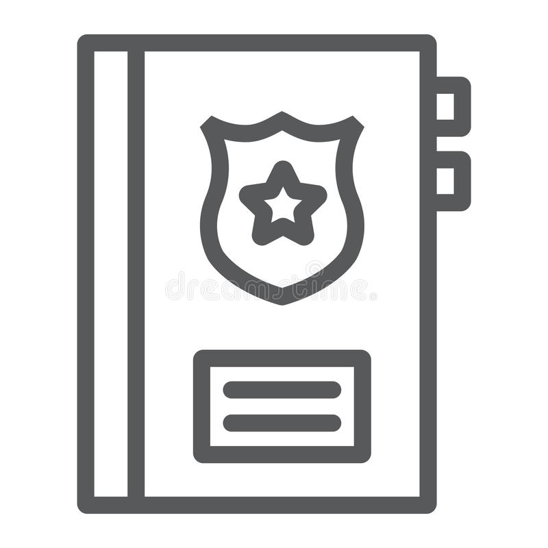 犯罪纪录线象,笔记和法律,警察报告标志,向量图形,在白色背景的一个线性样式 向量例证