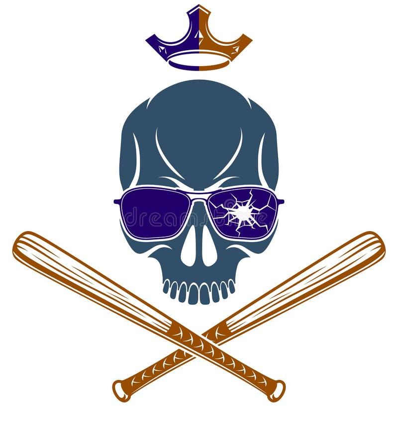 犯罪纹身花刺、帮会象征或者商标与积极的头骨棒球棒设计元素,传染媒介,匪盗少数民族居住区葡萄酒样式, 向量例证