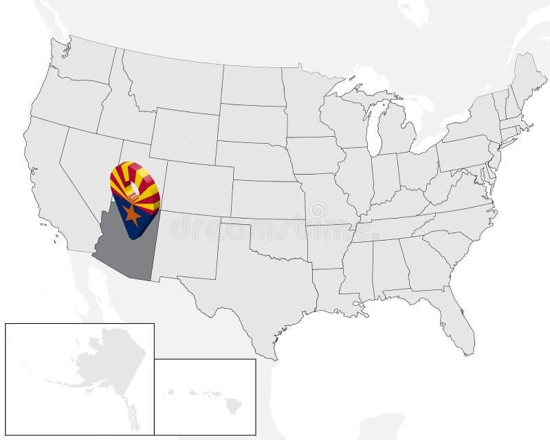 状态亚利桑那定位图在地图美国的 3d状态亚利桑那旗子地图标志地点别针 亚利桑那的优质地图 向量例证