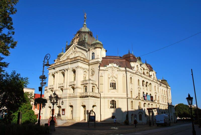 状态剧院在科希策的历史中心 免版税库存图片