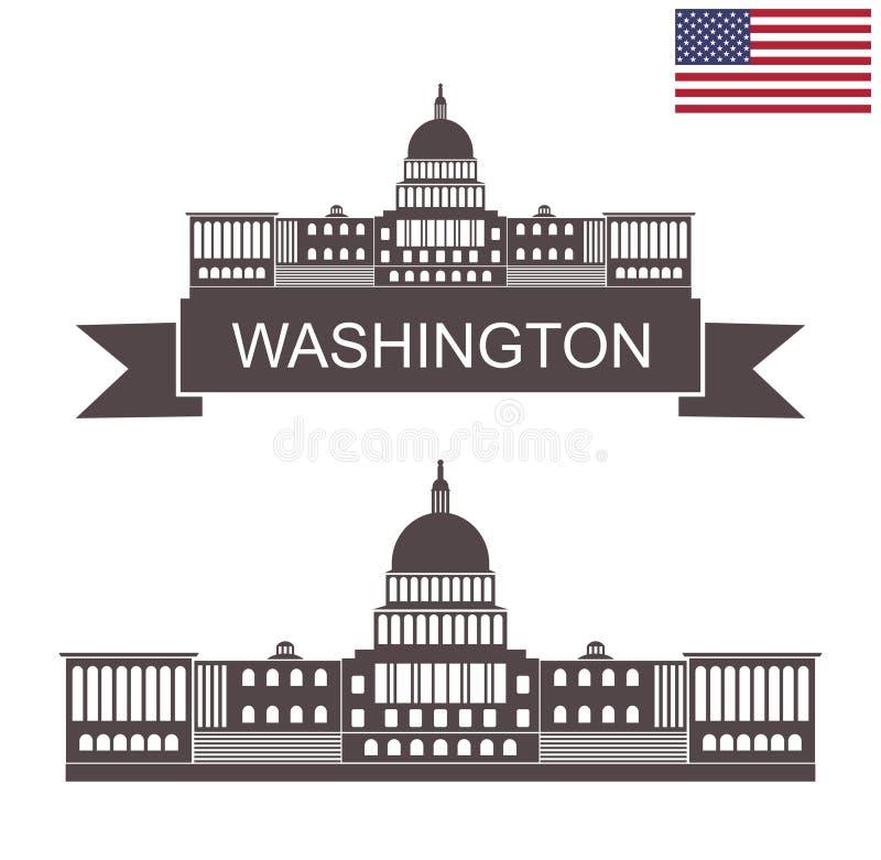 状态华盛顿 美国国会大厦大厦,华盛顿 向量例证