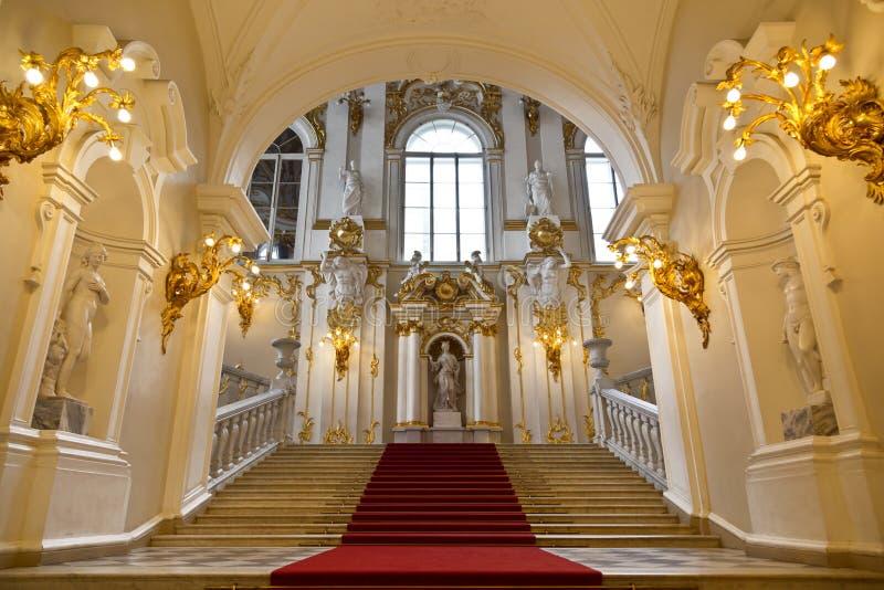 状态埃尔米塔日博物馆,豪华楼梯 库存照片