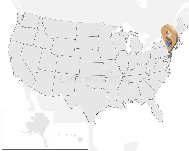 状态新泽西定位图在地图美国的 3d状态新泽西旗子地图标志地点别针 新泽西的优质地图 库存例证