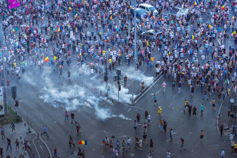 犹太人散居地在布加勒斯特抗议反对政府 库存图片