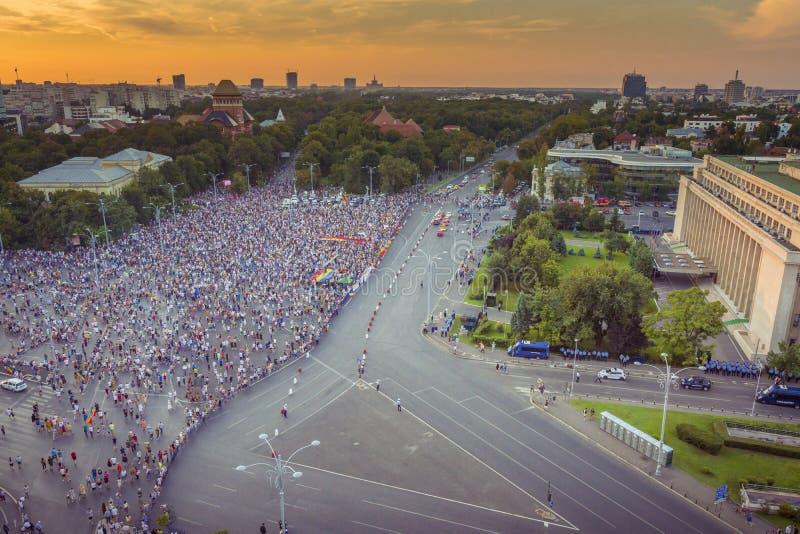 犹太人散居地抗议在反对政府的布加勒斯特 免版税库存照片