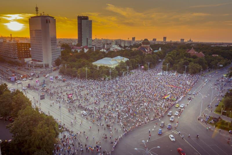 犹太人散居地抗议在反对政府的布加勒斯特 免版税库存图片