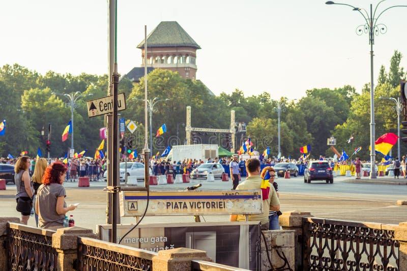 犹太人散居地抗议在反对政府的布加勒斯特 免版税图库摄影