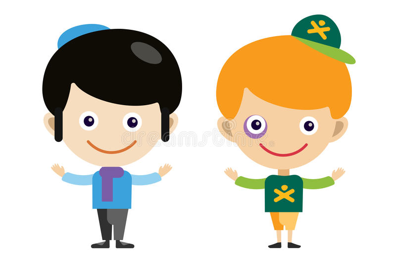 犹太人男孩和恶霸动画片导航不同的男孩 向量例证