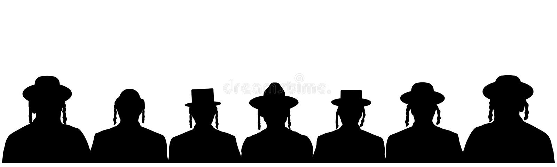 犹太国籍的人人群  人画象以色列人 犹太顶头外形具体化象 剪影传染媒介集合 向量例证