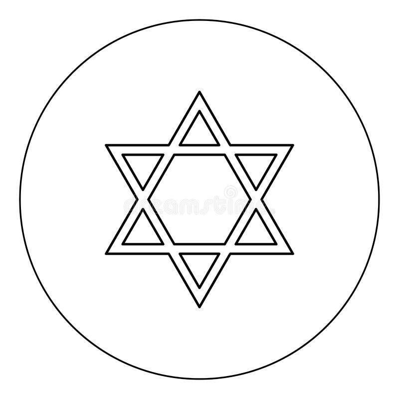 犹太大卫王之星象在圈子的黑色颜色 皇族释放例证