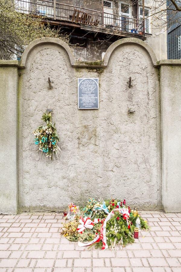 犹太少数民族居住区墙壁,克拉科夫,波兰 库存照片