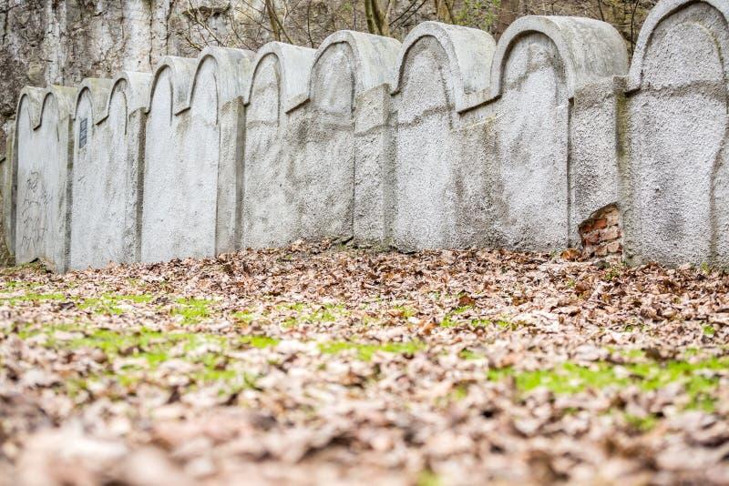 犹太少数民族居住区墙壁,克拉科夫,波兰 库存图片