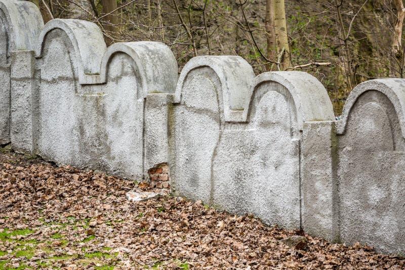犹太少数民族居住区墙壁,克拉科夫,波兰 免版税库存照片
