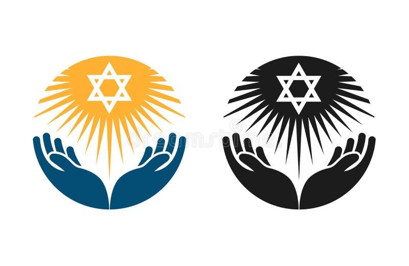 犹太教传染媒介商标 大卫王之星或宗教象 向量例证