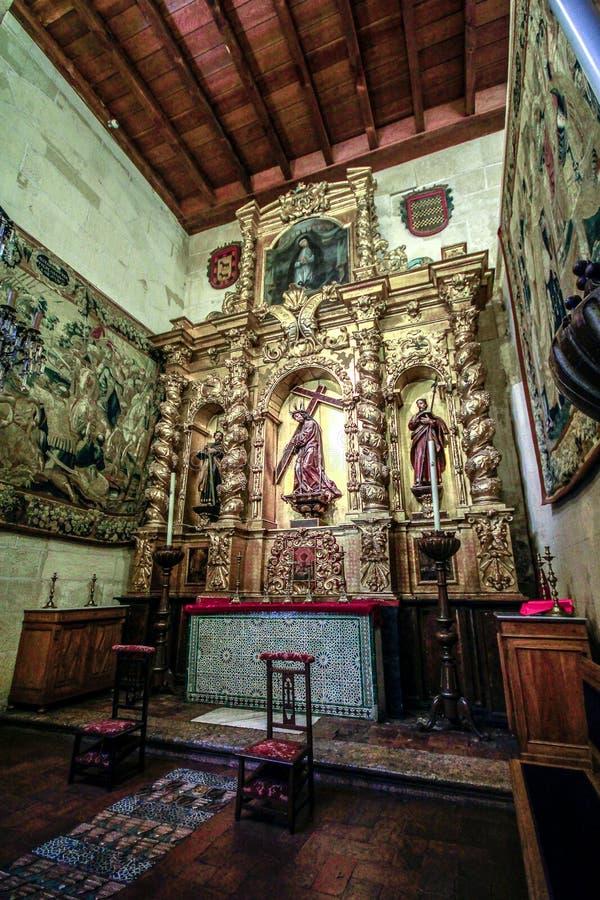 犹太教堂内部在科多巴,安大路西亚,西班牙 免版税库存照片