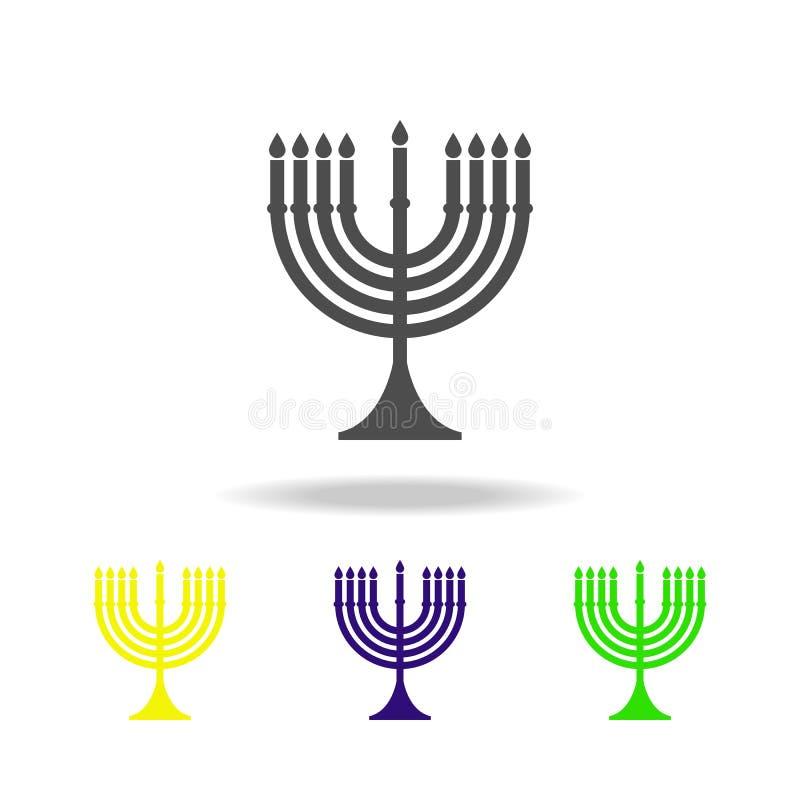犹太教犹太教灯台标志多彩多姿的象 详述的犹太教犹太教灯台象可以为网,商标,流动应用程序,UI,UX使用 库存例证