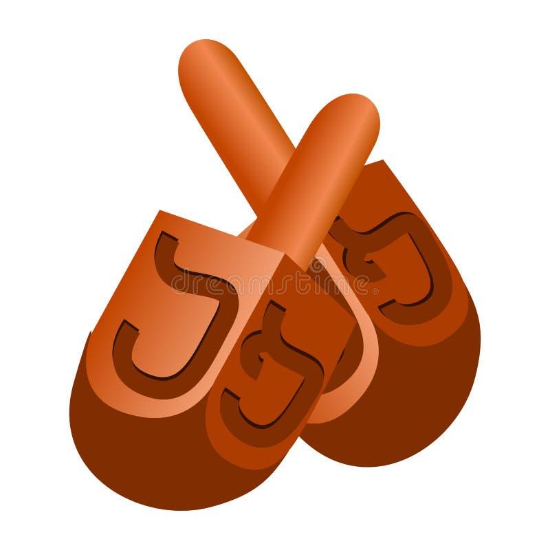 犹太dreidel象,动画片样式 库存例证
