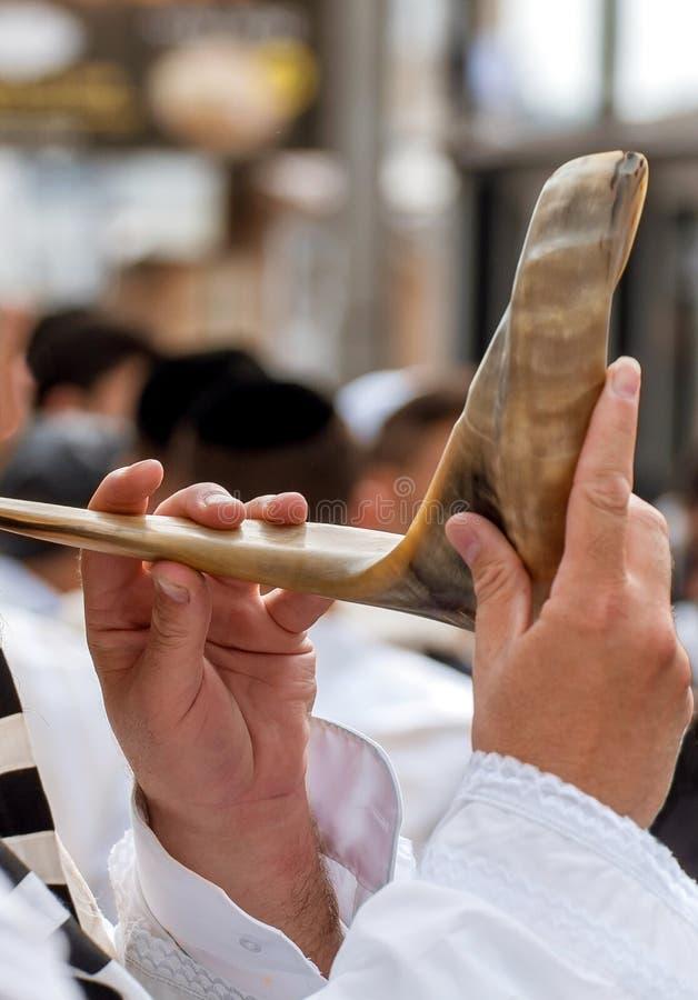 犹太hasid吹羊角号 手和羊角号特写镜头 免版税库存图片