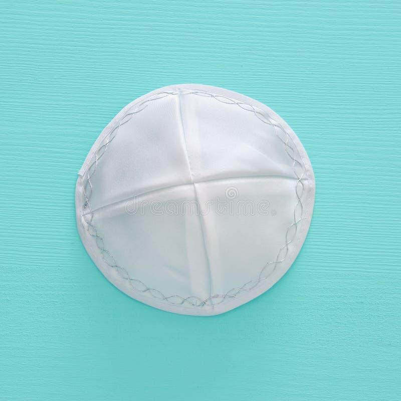 犹太Kippah圆顶小帽& x28的顶视图图象; hat& x29; 假日和sha 库存图片