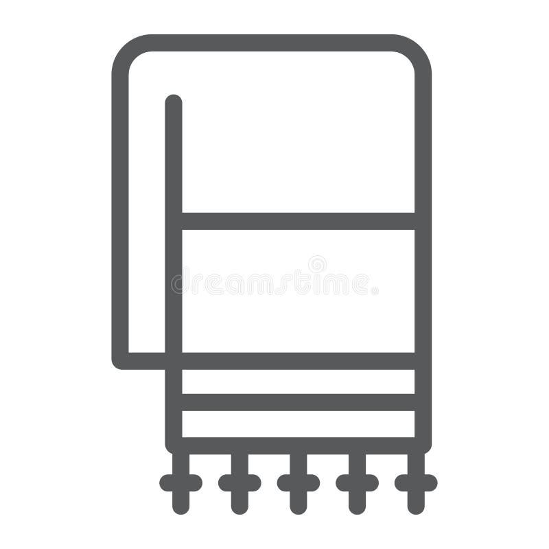 犹太tallit线象,宗教和以色列,犹太人tallit标志,向量图形,在白色背景的一个线性样式 皇族释放例证