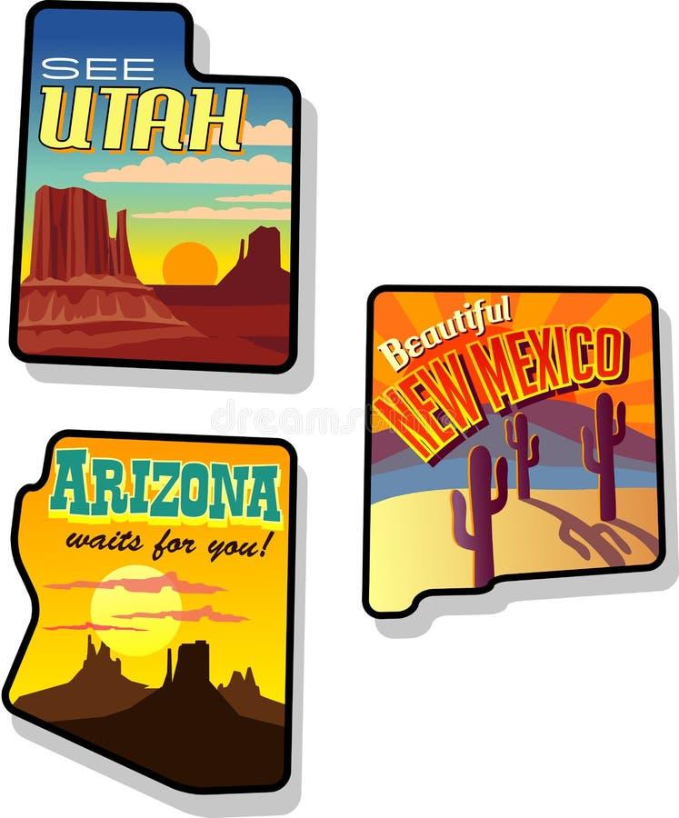 犹他、亚利桑那和新墨西哥旅行贴纸 向量例证
