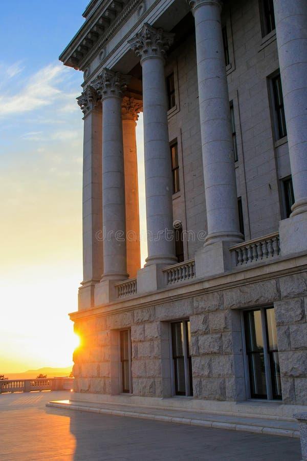 犹他日落的状态国会大厦在盐湖城 库存照片