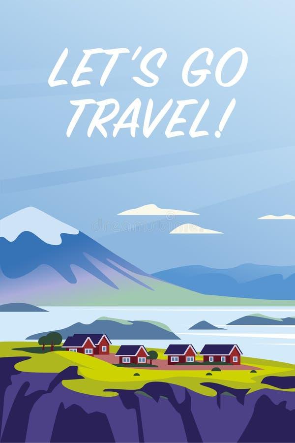 狂放的北欧自然视图的传染媒介平的风景minimalistic例证:天空,山,水,沿海的舒适房子 皇族释放例证