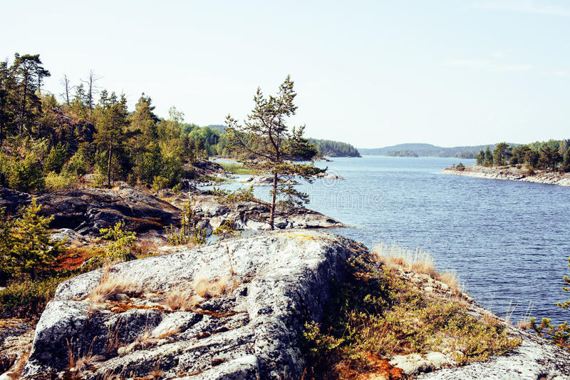 狂放的北部自然风景 全部在湖岸的岩石 库存照片