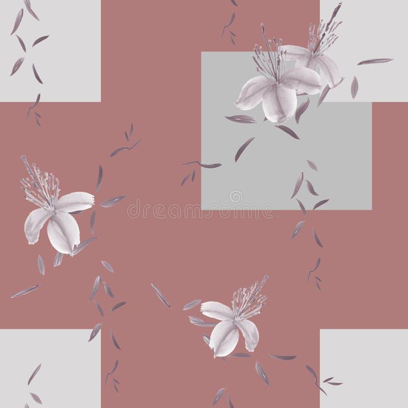 狂放的灰色花和分支的无缝的样式在深桃红色的背景与灰色几何图 水彩 库存例证