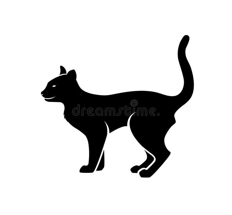 狂放的猫剪影传染媒介 库存例证