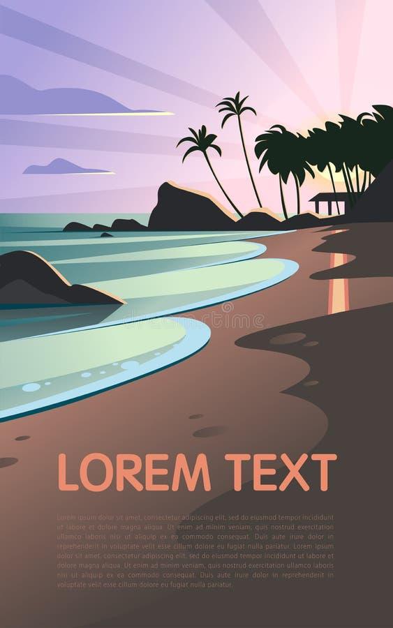 狂放的自然夏天日落的传染媒介平的风景例证在海滩视图的与天空,沿海,海洋,棕榈树 库存例证