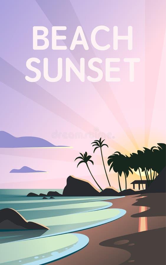 狂放的自然夏天日落的传染媒介平的风景例证在海滩视图的与天空,沿海,海洋,棕榈树 皇族释放例证